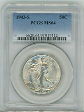 1943-S Walking Liberty Half Dollar 50C, MS 64 - PCGS