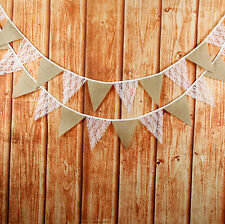 3M Burlap Hessian Jute & White Lace Vintage Rustic Bunting Flag Wedding Party