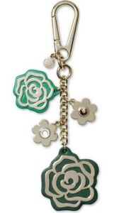 New Genuine Michael Kors Pine Green Leather Multi Rose Bag Charm