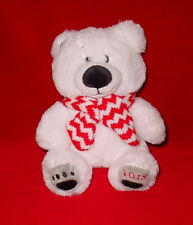 CUTE WHITE BEAR * 2018 * RED AND WHITE SCARF * NEW * 9 INCH **