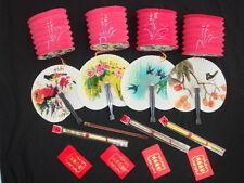 6 sobre De Palillos Chinos Rojo Linterna de papel abanico mano fiesta de cumpleaños de Año Nuevo