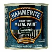 NEW HAMMERITE DIRECT TO RUST METAL PAINT - HAMMERED DARK GREEN - 250ML - 5084831