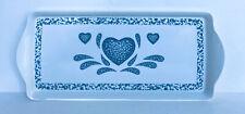"Corelle Blue Hearts 15"" Melamine Rectangular Handled Snack Tray Eurita Melamine"