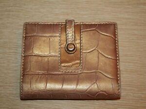 LODIS Metallic Croc Embossed Leather Bifold Wallet Clutch Zip Around