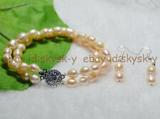2 Rows 7-8mm Genuine Natural Pink Freshwater Real Pearl Bracelets Earrings Set