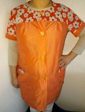 Nylon Dederon Kittel Schürze Vintage Smock Blouse  Orange M94