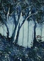 ACEO ATC original art miniature painting ' Misty Blue ' by Bill Lupton