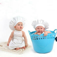 Newborn Baby Crochet Knit Photo Photography Prop Cook Chef Hat & Apron Outfits