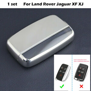 Silver Car Keychain Fob Cover Case Accessories For Land Rover Jaguar XF XJ BR