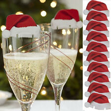 10X Christmas Champagne Wine Glass Ornament Decor Paperboard Navidad Hat Baubles