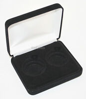 Black Felt COIN DISPLAY GIFT METAL DELUXE PLUSH BOX holds 2-Half Dollars US JFK