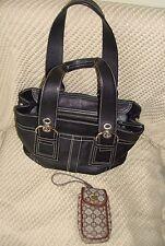 COACH Nickel Soho black leather satchel 2 strap Tote Purse bag F10911 +Nine West