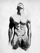 Original Male Nude Drawing / Homoerotic Gay Pride Art / India ink on Tyvek