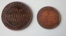 Lotto 2 Monete Antiche Toscana 1859 Vittorio Emanuele II
