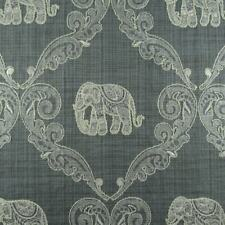 Elephant Damask Embroidred Woven Medium Weight Upholstery Fabric Grey Bty