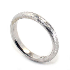 QUALITY HANDMADE SOLID 9K WHITE GOLD VINTAGE STYLE ETCHED WEDDING BAND RING SZ H