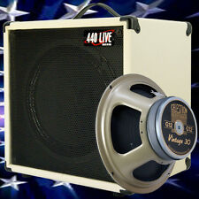 1x12 Guitar Speaker Extension Cab W 8 Ohm CELESTION Vintage 30 White tolex BF