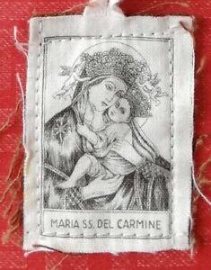 Santino scapolare incisione su stoffa Maria SS. del Carmine 4,7 x 3,5 cm OFFERTA