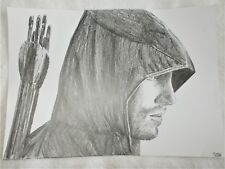 A4 Art Graphite Pencil Sketch Drawing Stephen Amell as The Green Arrow Poster b