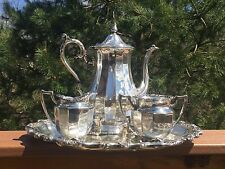 Silverplate Coffee Set Fluted Bodies Floral Trim - Mixed Set Van Bergh Rogers IS