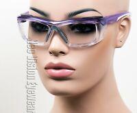 ERB Susan Purple Clear Wrap Safety Glasses Foam Padded Womens Z87+