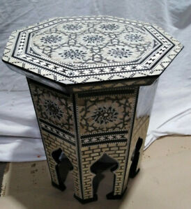 """Egyptian Moroccan Style Side End Table Beech wood Inlaid Mother of Pearl (16"""")"""