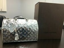 LOUIS VUITTON SILVER MONOGRAM MIROIR SPEEDY 35 HANDBAG ~RARE ~LIMITED EDIT