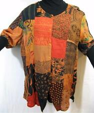 915T~TIENDA HO~Amber~POINTED TUNIC TOP~Hippy Rayon Patchwork~OVERSIZED~s/s~OS