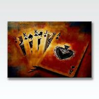 """POKER CARDS CANVAS Gambling Deck Casino Aces Poster Print Photo 30x20"""" CANVAS"""