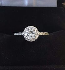 Halo Engagement Ring Moissanite Round Center with Genuine Diamonds G -H Color