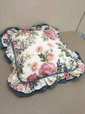 VINTAGE LAURA ASHLEY PIPED CUSHION COVER FRILLED FLORAL ROSES CHINTZ BLUE PINK