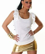 Sexy Miss señora camisa glamour top pedrería cadena volantes 34/36/38 freesize blanco