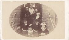 OLD CDV PHOTO GENTRY FAMILY ON STEPS ON HOUSE UK ANTIQUE PHOTOGRAPH