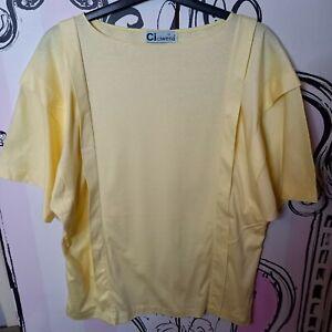 Size 12 Vintage Ciwena Light Yellow Semi Sheer Short Sleeve Loose Fit T-Shirt