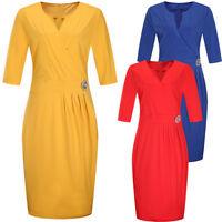 Women Office Party Dress V Neck Half Sleeve Plus Size Bodycon Midi Pencil Dress