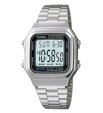 Casio A178WA-1A Digital Silver Stainless Steel Watch