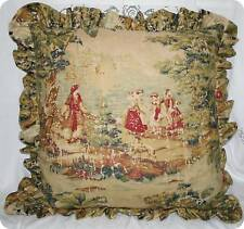 "Covington Bosporus Antique Red Toile Pillow with Ruffles 18"" square - NEW"