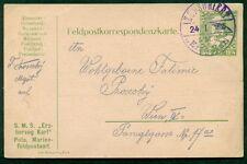 "1915, Hungary Naval card, ship ""ERZH. KARL"" purple circular date ship censor cxl"