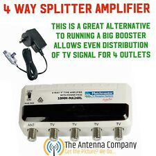 tv antenna amplified 4 way splitter uhf vhf hd remote power matchmaster booster
