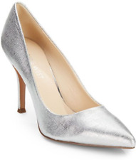 NEW NINE WEST SILVER  LEATHER PUMPS SIZE 8.5 M $89