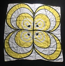 Vintage Silk Rayon Retro Mod Scarf Hand Rolled Japan Yellow Black