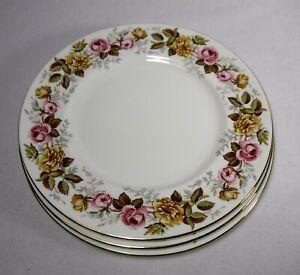 "COALPORT china ROSALINDA pattern Set of 3 Dinner Plates - 10-5/8"""