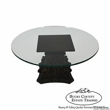 Vintage Italian Carved Wood Corinthian Colum Base Round Glass Top Coffee Table