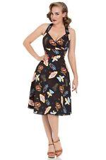 Voodoo Vixen Lucy Vegas Print Black Flared Dress Dra8469 Black Vintage UK 8-16 Size 14 XL