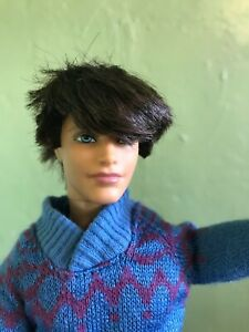 Barbie Ken doll Ryan articulated w/ rooted Brunette hair blue eyes sweater