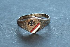 Patriotischer Ring mit Eisernes Kreuz und Schwarz Weiß Rot emalliert
