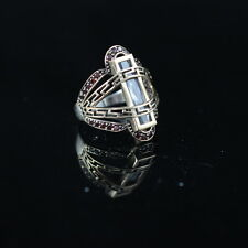 TURKISH HANDMADE RUBY STERLING SILVER 925K AND BRONZ RING SIZE 9