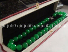 Elegant  huge 10mm natural circular green jade necklace long 18 inch