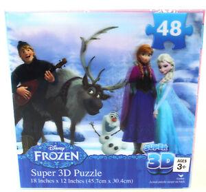 Frozen Super 3D Puzzle - 48 pieces - Disney Anna Elsa Kristoff Olaf Sealed NEW /