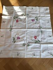 """LOVELY VINTAGE HAND EMBROIDERED POPPIES LINEN TABLECLOTH 33""""x 35"""""""